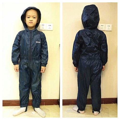 Kids Waterproof Raincoat Students Hooded Jumpsuit Girls Boys Rainwear