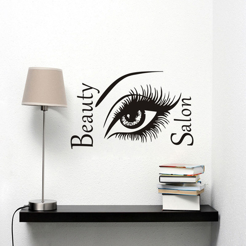 Dctop beautiful eyes with long eyelashes wall sticker for Stickers salon design