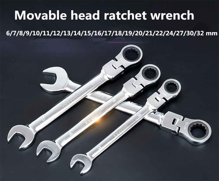 High Quality Metal Flexible Ratchet Wrench 8-24mm Spanner Tool Multiple Sizes