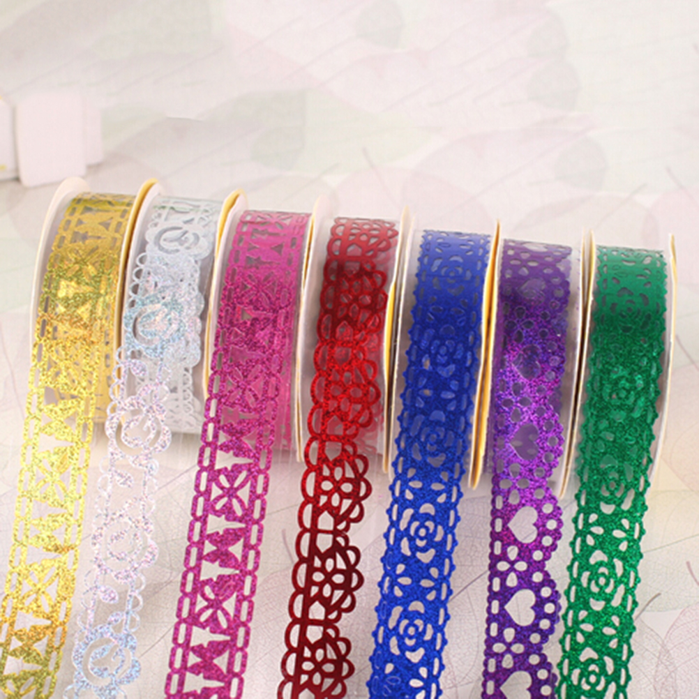 Office & School Supplies Peerless 1 Piece 1.7 M 7 Colors Hollow Out Transparent Lace Tape Decoration Roll Self Adhesive Tape Scrapbook Washi Tape
