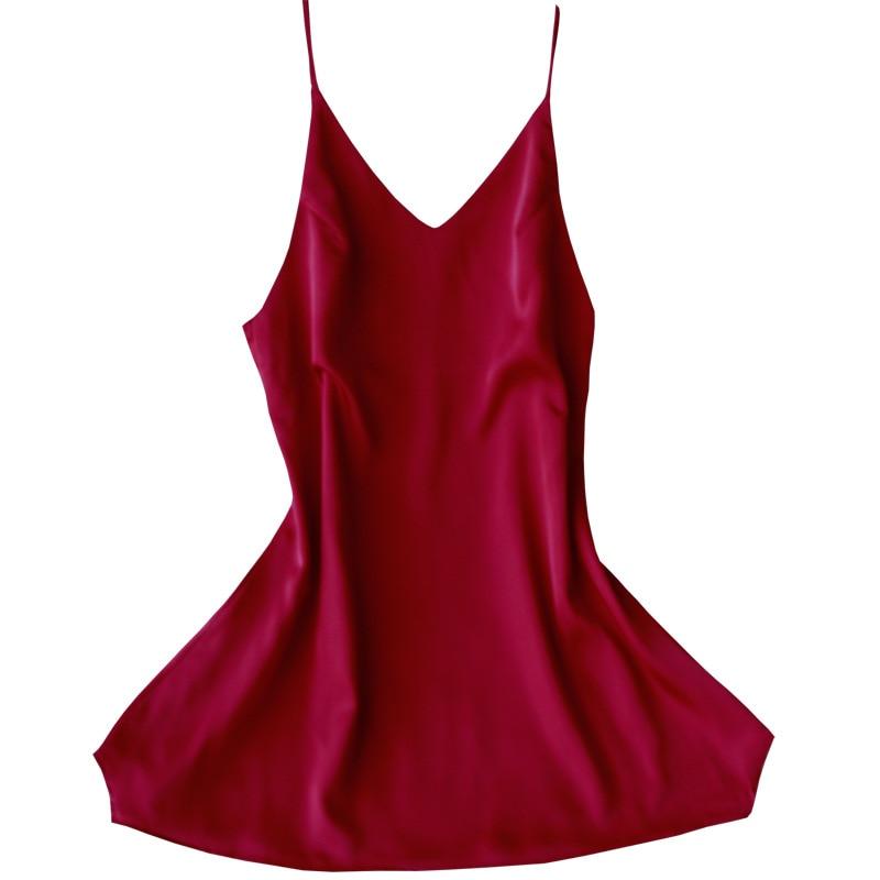 Female Suspender Skirt Sleepwear Solid Nightwear Black Home Dress Sexy   Sleepshirt   Summer Nightshirt Lady Satin   Nightgown   M-xxl
