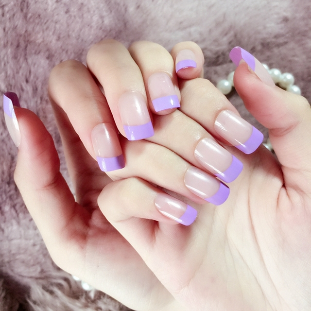 Medium Flat Translucent Fake Nail Tips Normal French Nails Purple ...