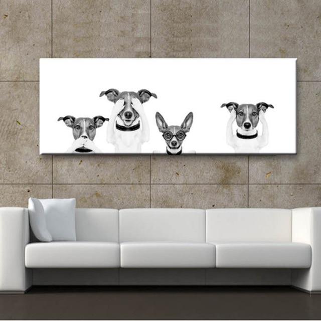 Moderne Leuke Honden Kat Canvas Schilderij Dier Posters Prints Zwart ...