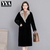 Зимнее женское длинное пальто из искусственного меха черного цвета с меховым воротником, приталенное пальто из овечьей шерсти, Офисная вер