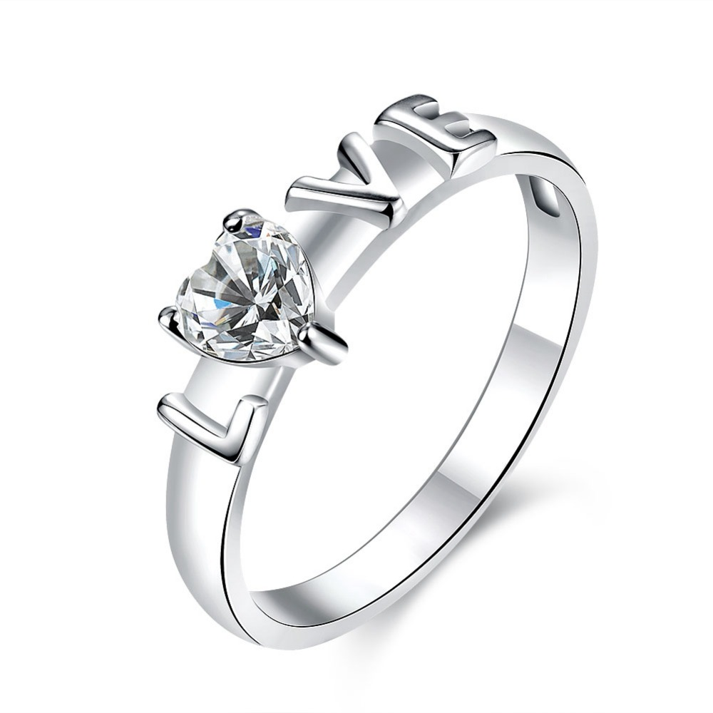 MEGREZEN Women Silver Ring With A Stone Charms Love Wedding Rings ...