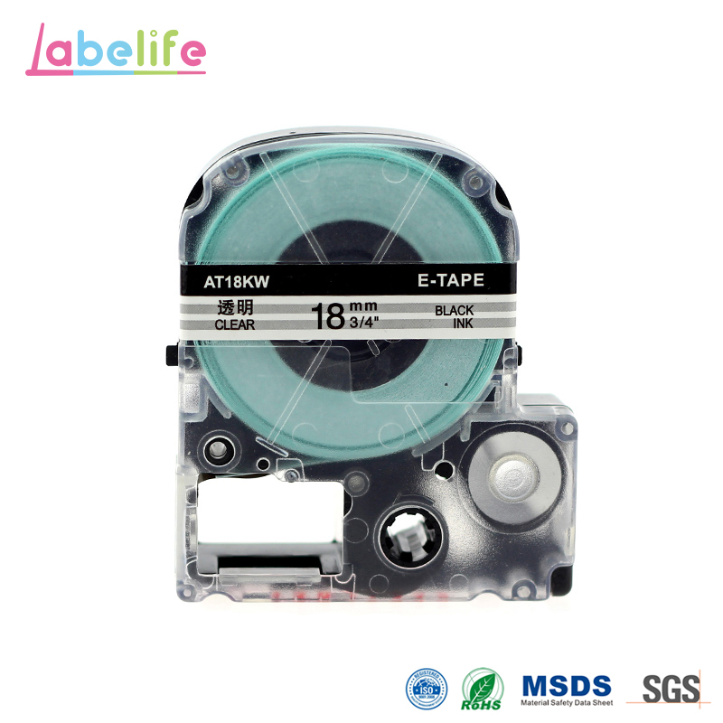 ST18K Black on Clear Label Maker Tape Cartridge Label Cassette Refills For Epson LC-5WBW for LW-300 LW-400 LW-500 LW-600P LW-700 цена