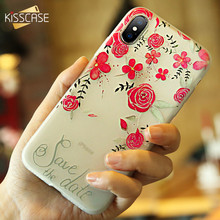 KISSCASE 3D Relief Floral Phone Case For iPhone X 8 Plus Case Retro Girly Soft Silicon Cover For iPhone 6 S Cases For iPhone 7 8(China)