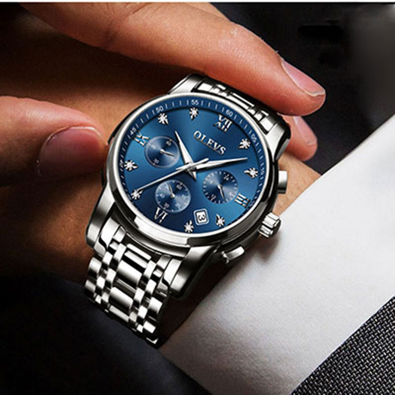 цена на relogio masculino OLEVS Luxury Brand Chronograph Analog Sport Wrist Watch Auto Date Men Quartz Watch Business Watches erkek saat