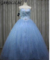 Tulle and Stain Sweetheart Beading Sequined Blue Ball Gown Quinceanera Dresses for Sweet 16 Vestido Longo 15 anos