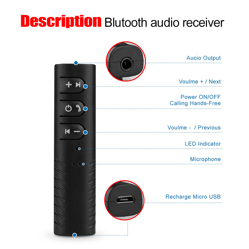 Bluetooth Receiver Car Bluetooth AUX 3 5mm Music Bluetooth Audio Receiver Handsfree Call Car Transmitter Auto Adapter in Wireless Adapter from Consumer Electronics