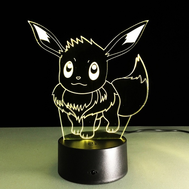 New Pokemon Lamp 3D Pikachu Night Light Halloween Kids Toys Holiday Gifts USB Lampe  Pocket Monsters Lampara  Factory Wholesale