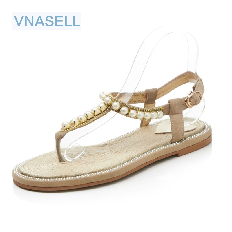 2018 Summer Flat Heel Women Sandals Genuine Leather Flip Flops Women Shoes Gladiator Casual Flat Sandal Woman white gold rhinestone silver women sandals low heel summer shoes casual platform shiny gladiator sandal fashion casual sapato femimino hot