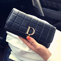 2016 New Fashion Women Wallets Long Wallets D Letter Lady Purse Three-dimensional relief squares Design  Female Clutch