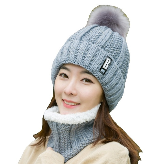 b94b7d55e1f New Autumn Winter Plus Velvet Knitted Women Hat Scarf Set Lady Thick Warm  Scarf Collar Pom