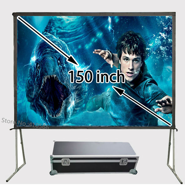 Excellent Quality Picture 3D Projector Screen 150inch Portable Outdoor Front Projection Fabric Aluminum Frame Simple Set Up hot selling 84 inch 16 9 format fast quick fold projector screen for many size front and rear projection screen