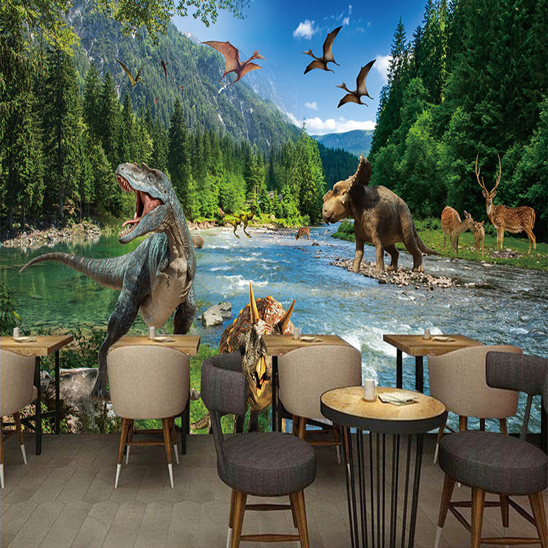 Custom Any Size Photo Mural Wallpaper 3D Stereo Dinosaurs Forest River Nature Landscape Mural Restaurant Cafe Living Room Fresco 3d rock n roll music it s my time any size custom wallpaper mural rolls hotel restaurant coffee bar ktv living room background