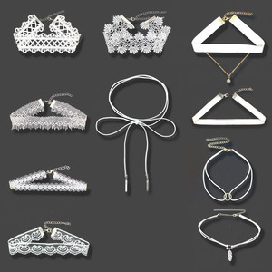 Stylish Jewelry 10 Pieces White Elegant Lady Neck Chain Choker Necklace Set Stretch Velvet Classic Gothic Tattoo Lace Choker Dsp