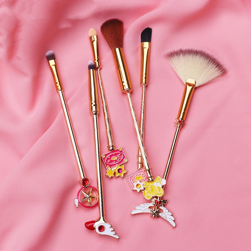 6pcs  Card Captor Sakura Makeup Brush Cosmetic Tools Toiletry Beauty  Stick Rod Brush Gift Women Girl Dropship