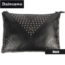 J09 Fashion Summer Brand Handbag Women Envelope Day Clutch Bag Rivet Genuine Leather Ladies Shoulder Cross-Body Evening Bag
