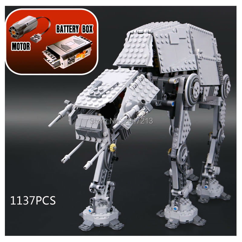 hot new compatible LegoINGlys Star Wars series Motorized Walking AT-AT model robot building blocks Toys for children gift