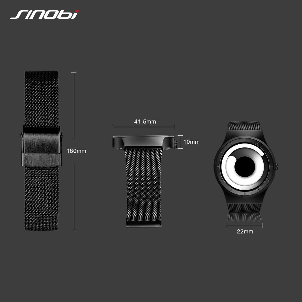 Sinobi Vortex Watches Men Sport Casual High Quality Stainless Steel Retro Milanese Creative Black Wristwatch Relogio Masculino