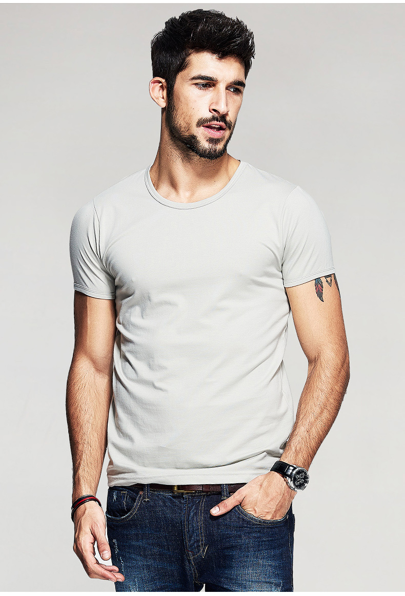 KUEGOU Summer Mens Casual T Shirts 10 Solid Colors Brand Clothing Man's Wear Short Sleeve Slim T-Shirts Tops Tees Plus Size 601 28