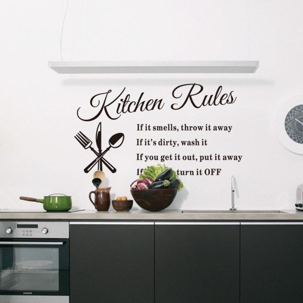 wall sticker parole regole cucina 5733 cm diy rimovibile impermeabile home decor