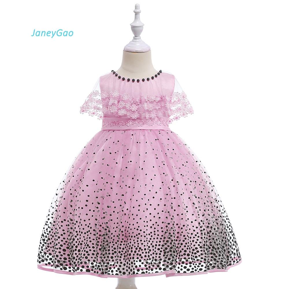 JaneyGao   Flower     Girl     Dresses   For Wedding Party Pink Pageant Children   Dresses   Ruffles Little   Girl   Birthday Dinner Formal Gown