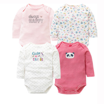4 PCS/LOT Newborn Baby Clothing 2018 New Fashion Baby Boys Girls Clothes 100% Cotton Baby Bodysuit Long Sleeve Infant Jumpsuit 1