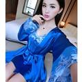 Ropa de Noche Atractiva del Kimono de Encaje Batas Para Mujeres Albornoz Casa Ropa de Seda de Seda Conjunto Bata Camisón loungewear