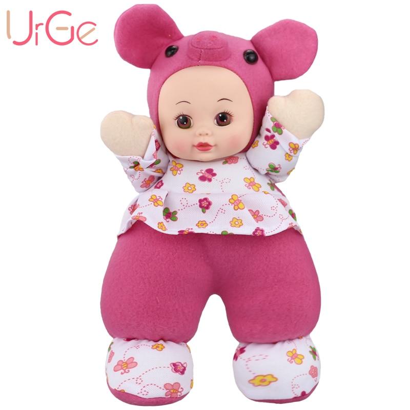 30cm En Peluche Doux kawaii Poupée De Dessin Animé Porc Doux Silicone Reborn bébé jouets Poupées pour filles Anniversaire Cadeau De Noël URGE