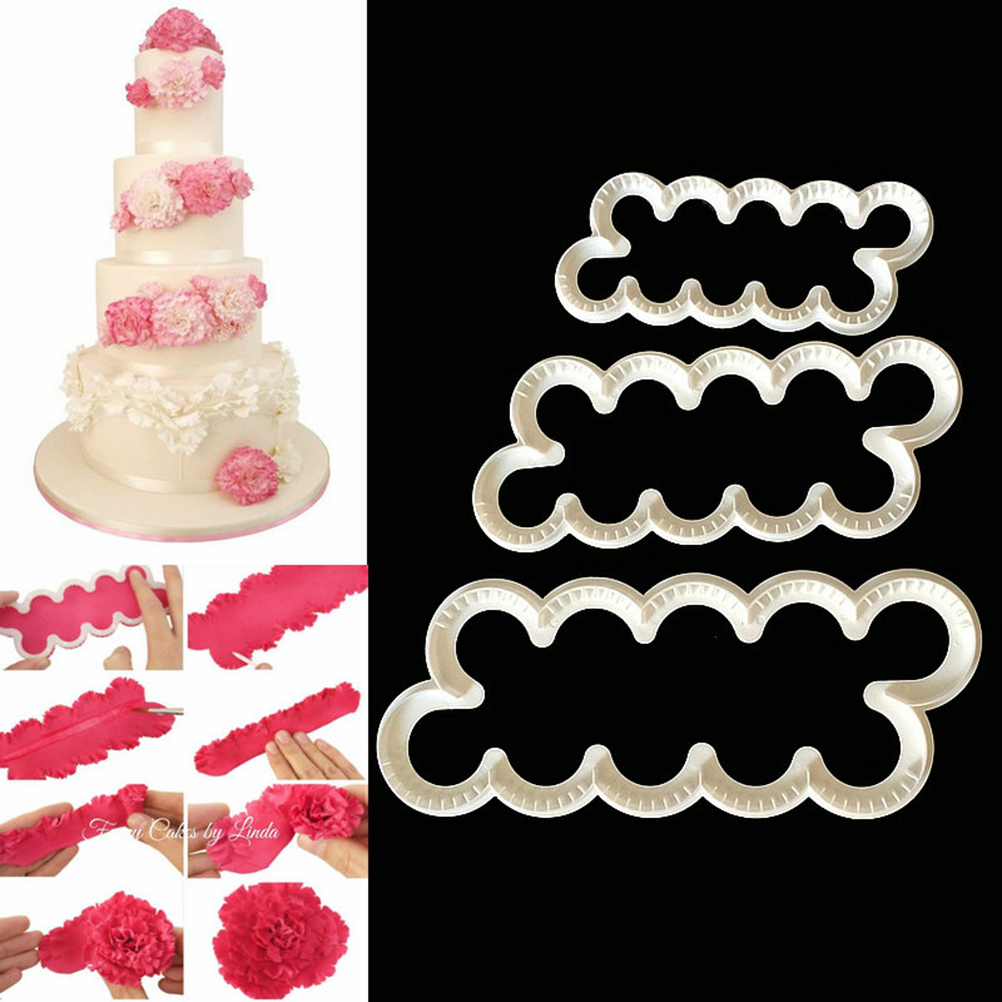 3Pcs/set Gumpaste Carnation Flowers Sugarcraft Easiest Rose Ever Cutter Carnation Cake Decorating Flower Maker Cake Mold image