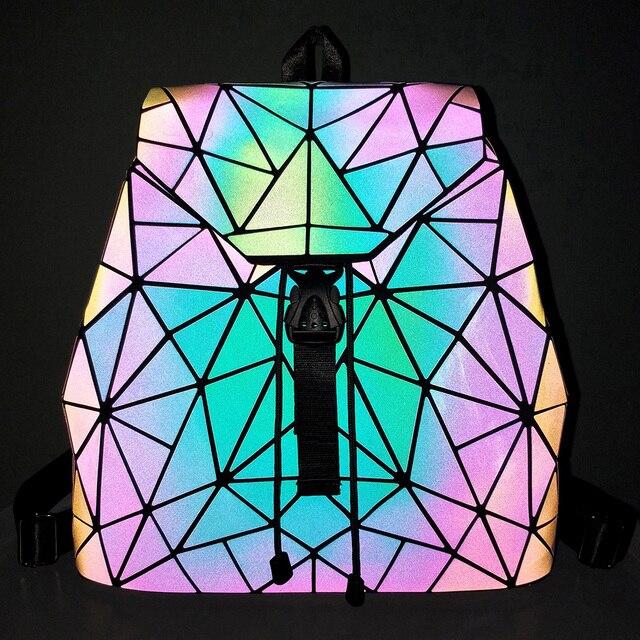 Women Backpack Luminous Geometric Plaid Sequin Female Backpacks For Teenage Girls Bagpack Drawstring Bag Holographic Backpack 3