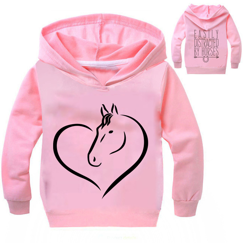 Boy and Girl Sports Sweater Spring Autumn Long Sleeve Unicorn Print Hooded Top Children Cartoon Sweatshirt T-shirt Kids Clothing vogue letter and animal print round neck long sleeve sweatshirt for women