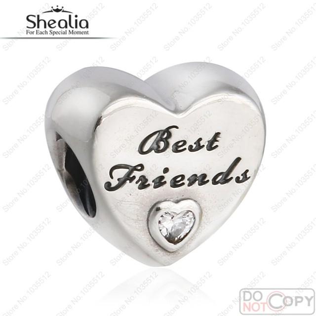 Amizade Coração Grânulos de Charme 2016 Outono 925 Sterling Jóias de Prata Com Clear CZ Stone Beads Serve Shealia Pulseiras Diy BD272