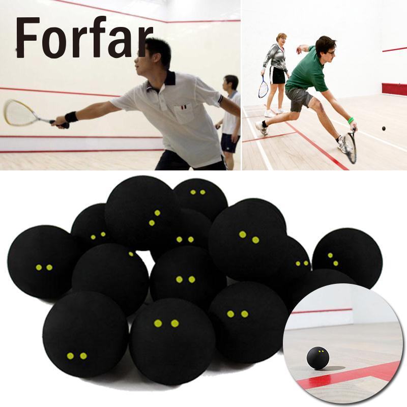 Forfar Squash Ball Two-Yellow Dots Low Speed Official Sports Rubber Balls Professional Player Training Competition Squash