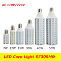 E27 E14  220V/110V 7W 12W 15W 25W 30W 40W 50W Light SMD5630 5730 42 60 86 98 132 LED Corn Bulb Lamp 1PCS