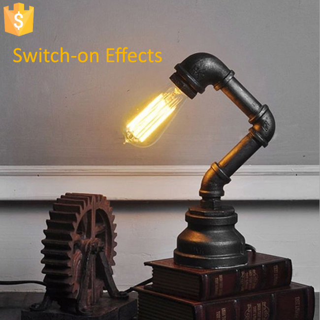 2017 Vintage Industrial Water Pipe lamp Retro Classic Personalized bar Lighting counter pendant Night lights for coffee bar 2pcs