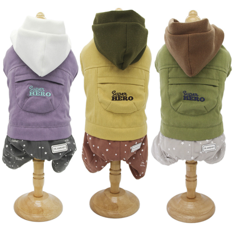 2019 Dog Clothes New Design Autumn And Winter Hooded Letters Printed Four-legged Clothes For Small Dog Jumpsuit Pet Dog Clothes