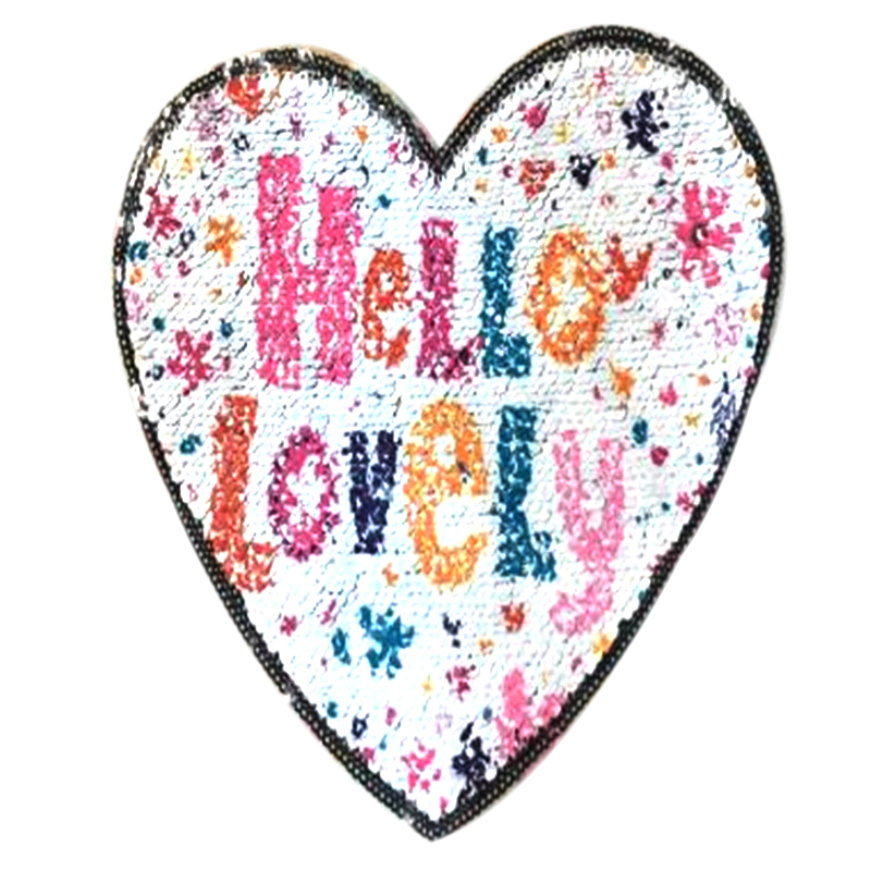 T-shirt Girl Patch 19cm Hello Lovely flip the double sided Patches for clothing Reversible change color sequins T shirt Women