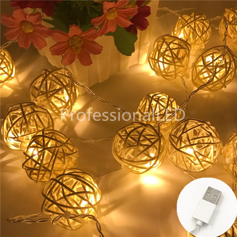 2M Rattan Ball USB 5V 20LED String Light Warm White Fairy Light Holiday Light For Party Christmas Wedding Home Decoration