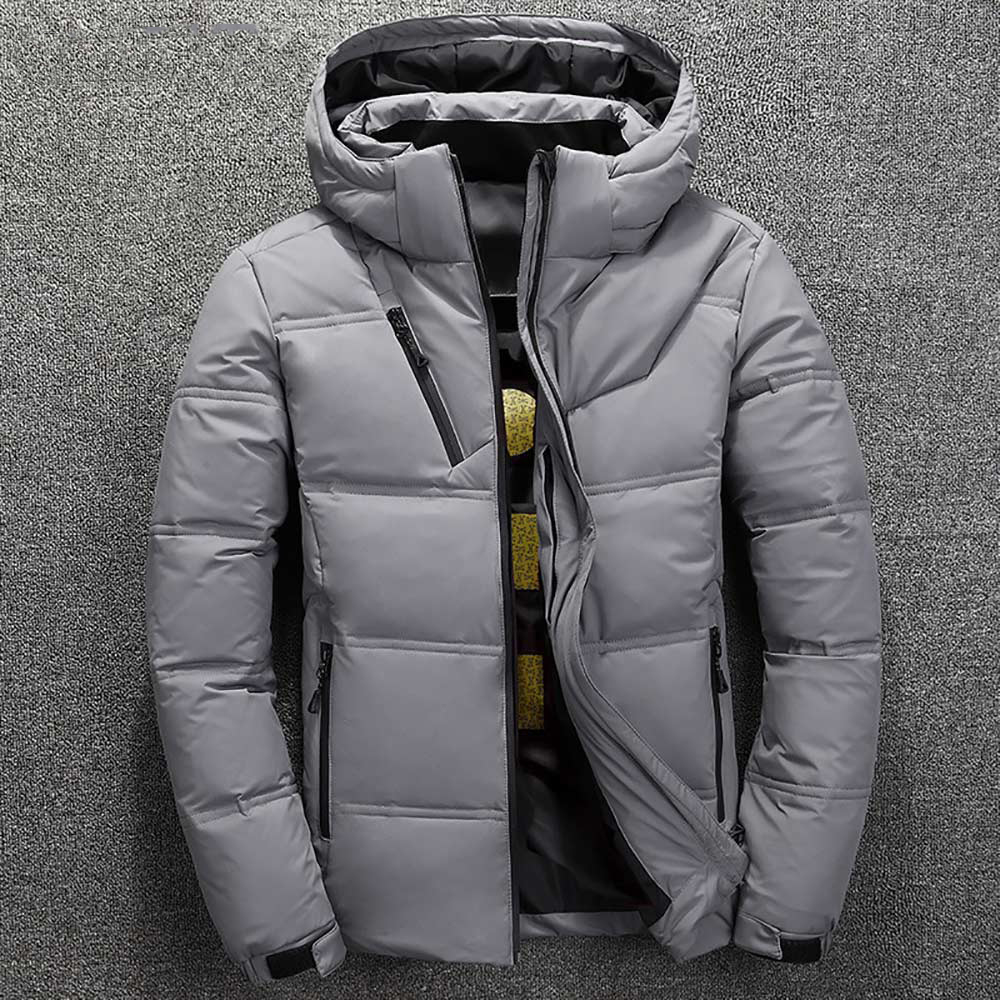 Winter Warm Men Jacket Coat Casual Autumn Stand Collar Puffer Thick Hat White Duck Parka Male Men's Winter Down Jacket With Hood