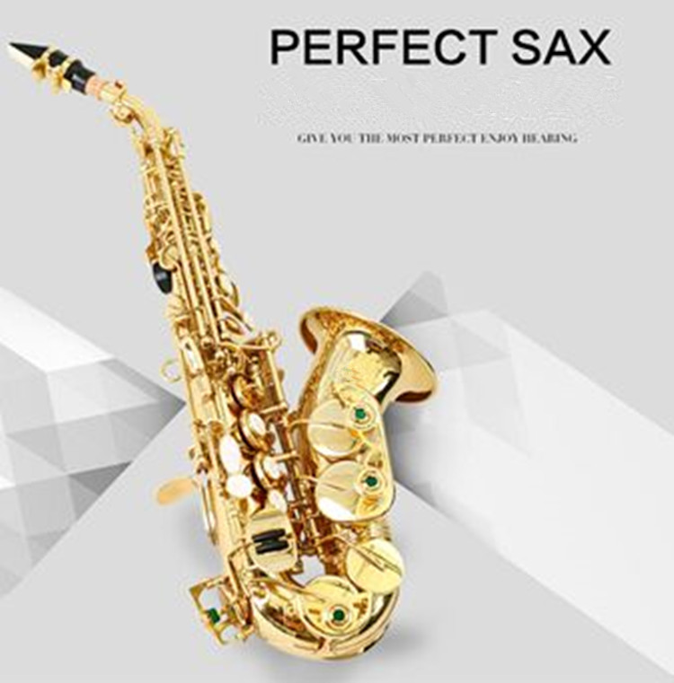 Curved Soprano Saxophone Gold Brass Sax Professional Mouthpiece Patches Pads Reeds Bend Neck mock neck curved hem striped tee