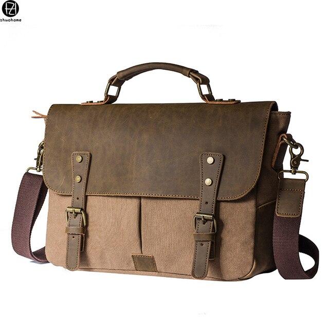 8130988ae Men Vintage Canvas messenger bag crazy horse leather soft man shoulder bag  retro school bag hasp