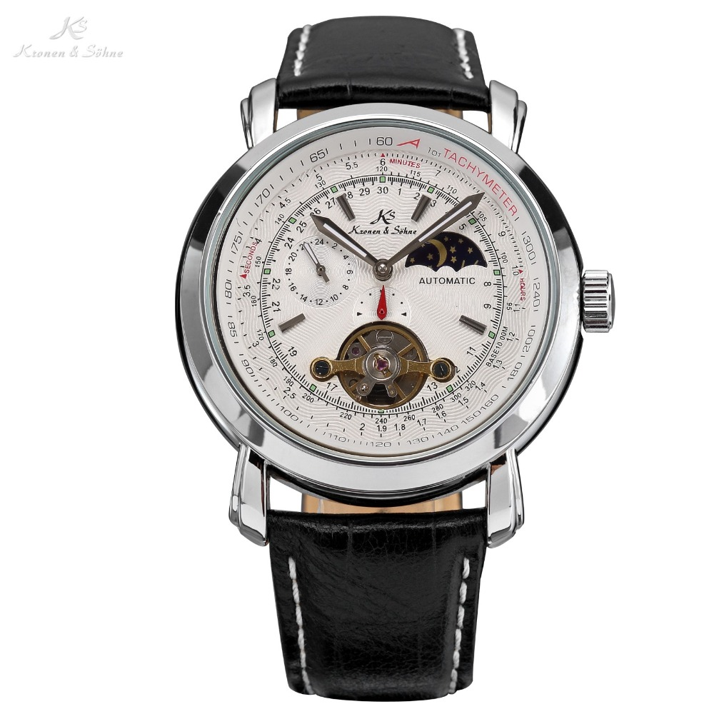 KS White Sun & Moon Automatic Self Wind Black Genuine Leather Strap Relogio Business Mens Mechanical Watch Gift/KS069 hack футболка