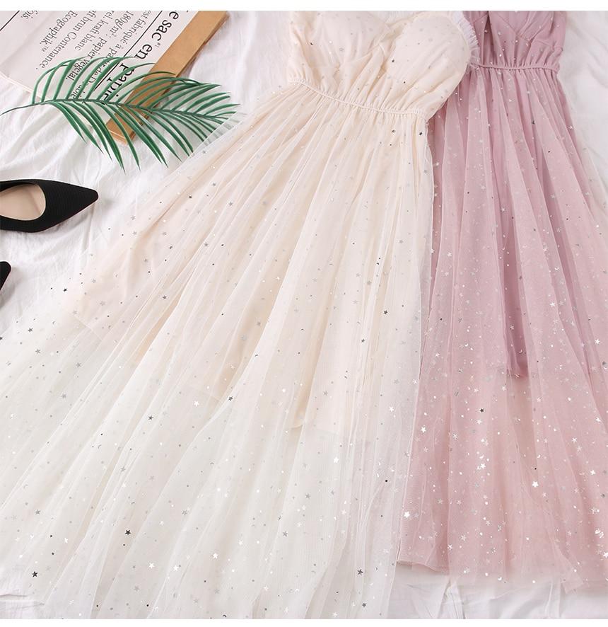 Sweet Mesh Spaghetti Strap Star Sequins Dress 4