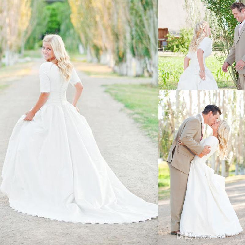 2017 Modest Plus Size Wedding Dresses With Sleeves Lace Bohemian Satin Ruffles Court Train Bridal Gowns In From Weddings