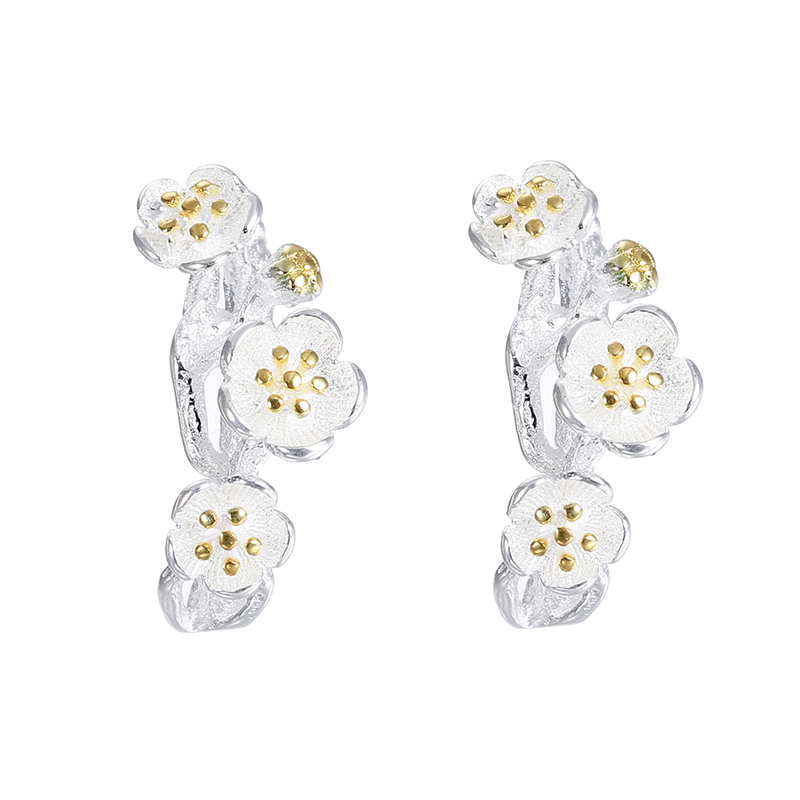 100 925 sterling silver fashion plum flower women jewelry ladies stud earrings jewelry cheap drop shipping birthday gift in Stud Earrings from Jewelry Accessories