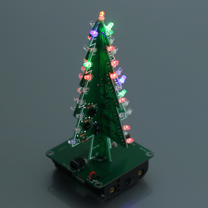DIY 3D Christmas Tree LED Kit Red Green Yellow LED Flash Circuit Parts Electronic Funny Suite Christmas Year Present