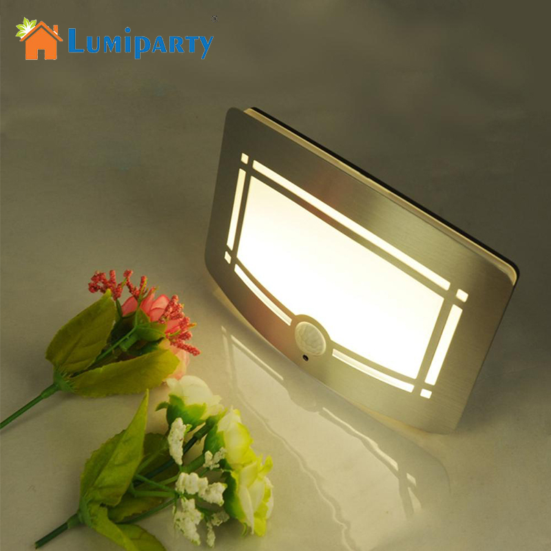 LumiParty 10LEDS Wall Light PIR Infrared Motion Sensor Lamps Battery Powered LED Night Light Home Porch Bedroom Lighting